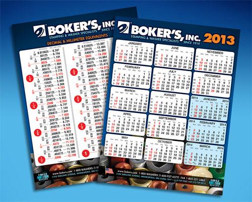 Boker's 2013 Calendar with Metric Conversion Chart